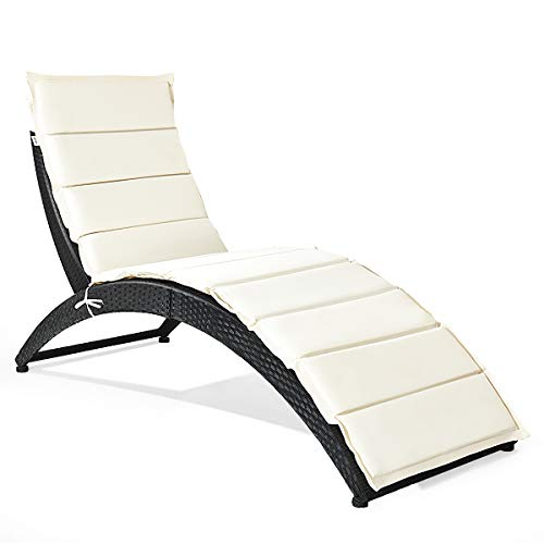 Tangkula Foldable Patio Lounge Chair, Outdoor Rattan Reclining Backrest Lounger Chair, Portable  ...