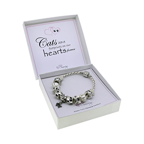 Cat Lovers Leather Charm Bracelet Pandora Style Gift Boxed 41U8eImwuGL