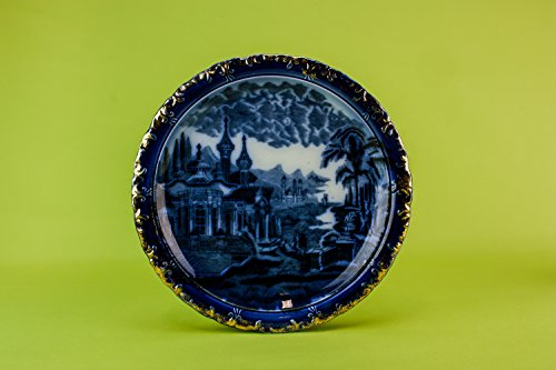 Elegant Flow Blue Nocturnal Landscape Pottery Large Table Serving DISH Victorian Antique Cheese Circa 1900 English LS Flow Blue Pottery