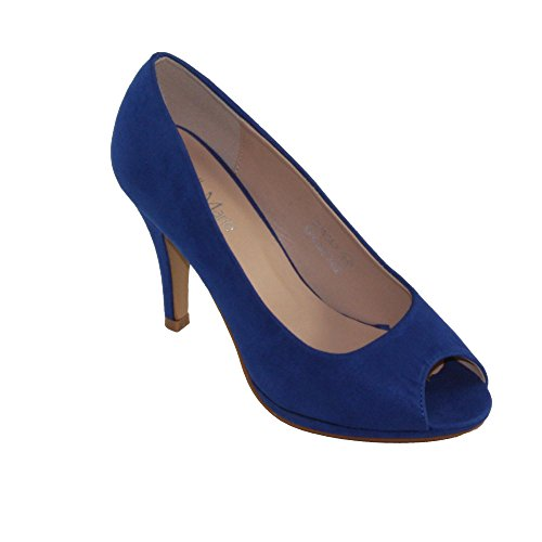 2 Peep Toe Pump - BellaMarie Women's Bianca-2 Faux Suede Peep-toe High Heel Dress Pumps (7, Royal Blue)