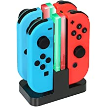 INNVO Joy Con Charger for Nintendo Switch 4 in 1 Charging Dock Charge and store 4 controllers at same time Black