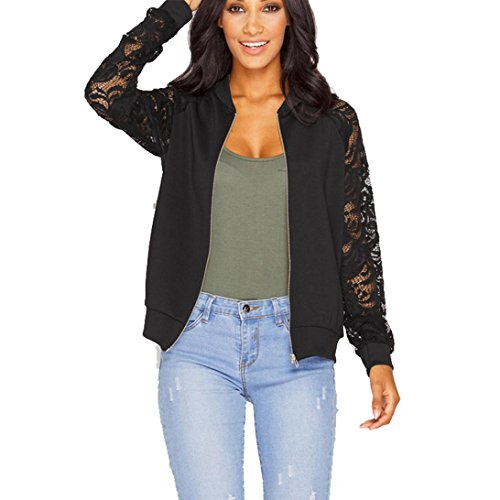 XUANOU Womens Long Sleeve Lace Blazer Suit Casual Jacket Coat Outwear (Medium, Black) by XUANOU
