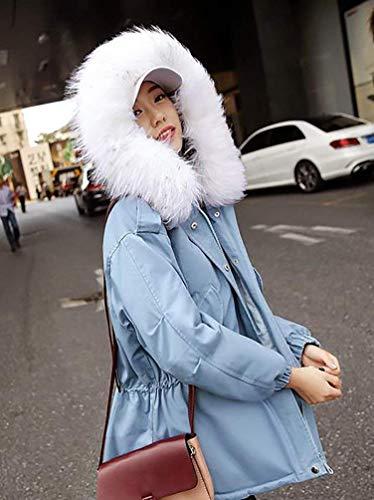 Piel Chaqueta De Caliente Temporada Con Imitación Marca Informales Outerwear Bolawoo Mujer Larga Outdoor Blau Espesar Invierno Elegantes Mode Abrigos Capucha Fashion Manga SxX0qXYO