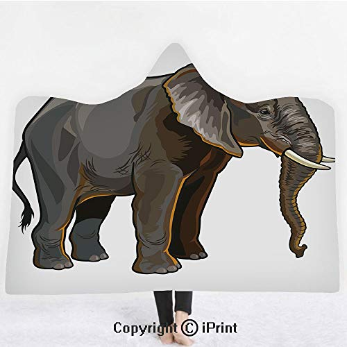 "Animal Decor 3D Print Soft Hooded Blanket Boys Girls Premium Throw Blanket,African Elephant Side View Exotic Spiritual Safari Creature Digital Illustration,Lightweight Microfiber(Kids 50""x60"") Grey ()"
