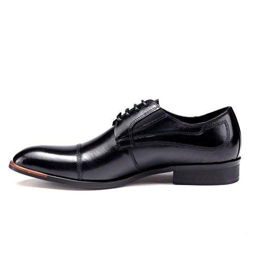 Mens Leder Freizeit Sehnen Schuhe Dress Herbst Business Hochzeit Mode Rutschen Schwarzbraun Schwarz