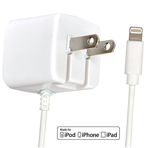 Apple Certified iPhone Lightning Charger - Wall Plug - For iPhone X 8 Plus 8 7 Plus 7 6S Plus 6 Plus 6 6S 5S 5 5C SE - Fold Away Pins - 2.1a Rapid Power - Take For Travel - White