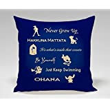 Disney Peterpan Hakuna Matata Beauty and the Beast Alladin Finding Nemo Lilo and Stitch Quote Pillow Case (16x16 two side) by brand new