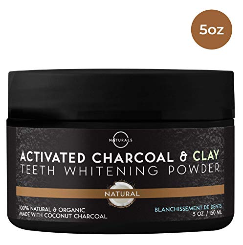 O Naturals Teeth Whitening Activated Charcoal Powder. From Pure Coconut Shells 100% Natural. Made With Bentonite Clay, Brightens Teeth, Breath Freshener. Non Abrasive, Vegan. Made in UK. 5 oz.