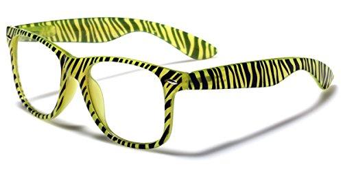 Retro Fashion Sunglasses Clear Lens RX Zebra & Checkered Frame Print