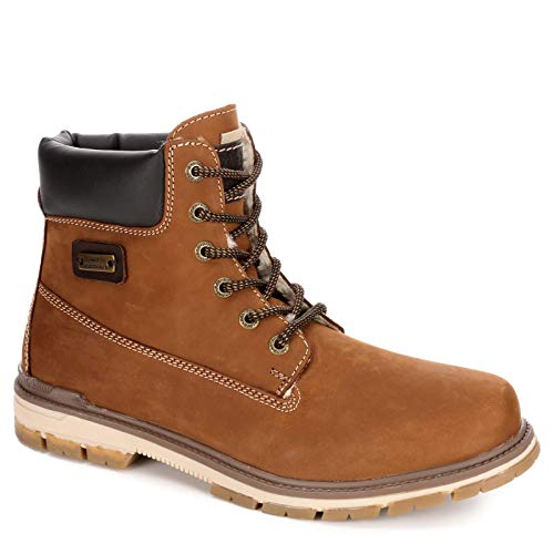 AM Shoes Mens Casual Lace Up Work Boot Shoes, Brown, US 11