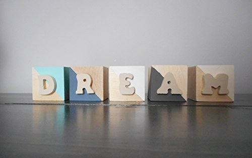 Dream Painted Wooden Blocks, Nursery Decor (Blocks Nursery Decor)