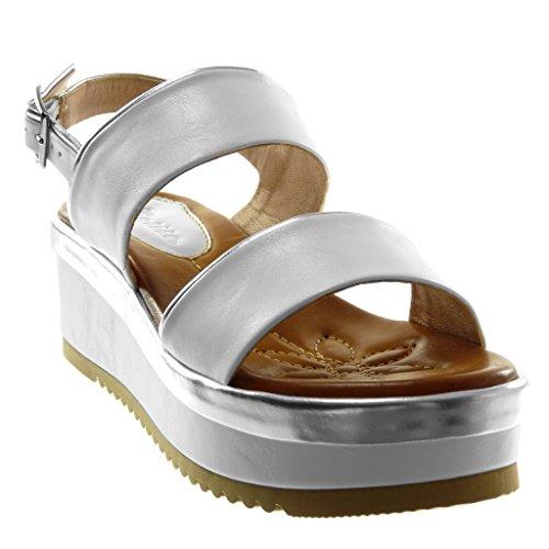 Mule Bicolore Mode 6 Métallique Femme Lanière Talon Plateforme Plateforme Compensé Cheville Chaussure Sandale Angkorly Lanière cm Blanc q8FwAtq