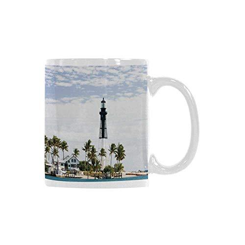 - United States Trend Mug,Hillsboro Lighthouse Pompano Beach Florida Atlantic Ocean Palms Coast Decorative for Office Travel,3
