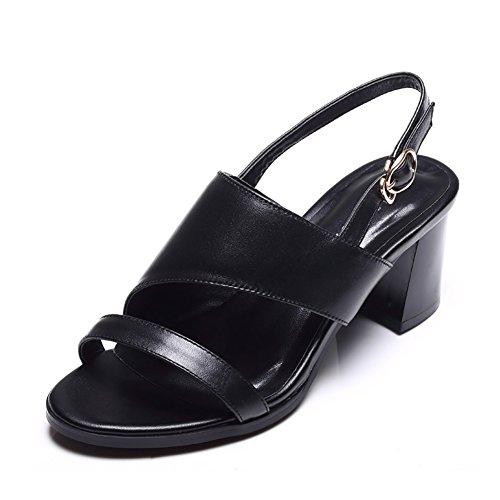De Verano Sandalias Abierto Talones ZCJB Blanco Color Hebilla Alto Palabra Zapatos De Cuero Verano Romanos Mujer Tamaño Simple 36 Talón Mujer Zapatos Dedo Negro De Tacón UfqErqnP