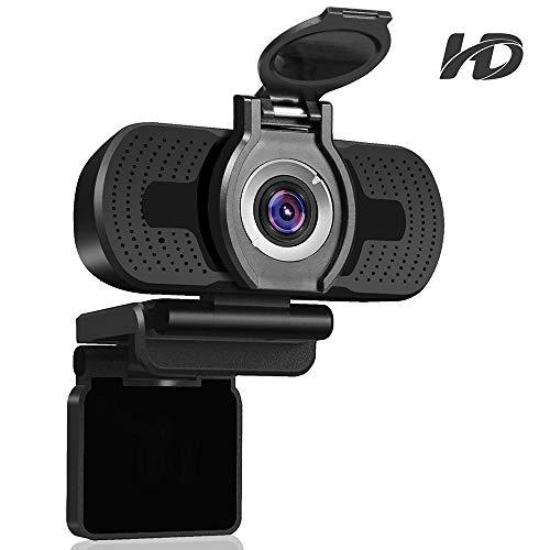Dericam 1080P HD Live Streaming Webcam, Mini Plug and Play Video Calling, USB Desktop y Laptop Camera, Microfono Incorporado, Clip Flexible Giratorio, W2