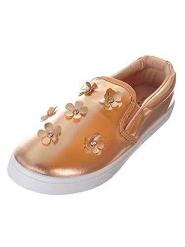 Vanessa-51K Girls Sneakers Twin Gore With Flowers and Rein Stones (13, Rose Gold) (Gore Panel)