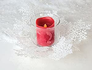 Winter Solace White Christmas Glass Pillar Candle Holder with Snowflake Ring