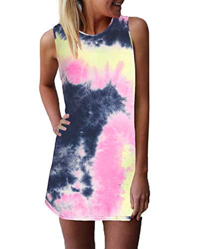 ZANZEA Women's Sleeveless T Shirt Dress Tie-dye Round Neck Rainbow Tank Mini Dress US 4
