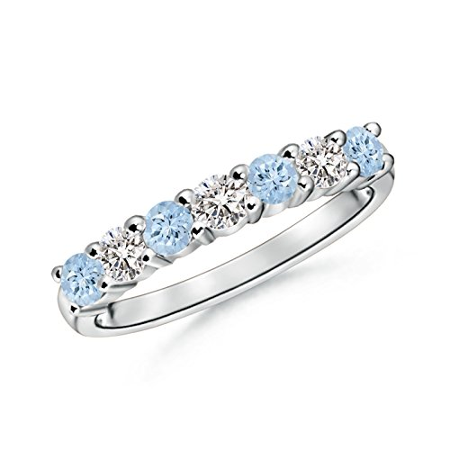 Half Eternity Seven Stone Aquamarine and Diamond Wedding Band in 14K White Gold (3mm Aquamarine) by Angara.com