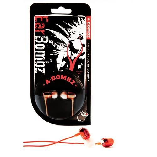EarBombz A-Bombz Absolute Audio Resolution High Performance Studio Quality In-ear Headphones, Red