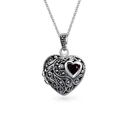 Engravable Garnet Marcasite Heart Locket Pendant Necklace For Women For Teen 925 Sterling Silver January Birthstone ()