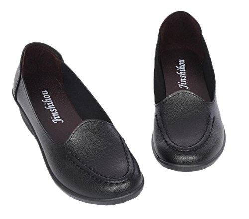 WUIWUIYU Women's Loafers Slip On Comfort Casual Leather Shoes Wedges Walking Moccasins by WUIWUIYU (Image #1)