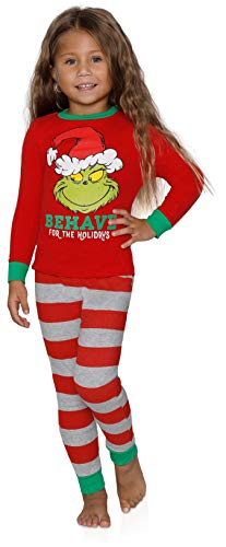 Dr. Seuss The Grinch Naughty and Nice Girls Cotton Pajama Set, Toddler, Size 4T