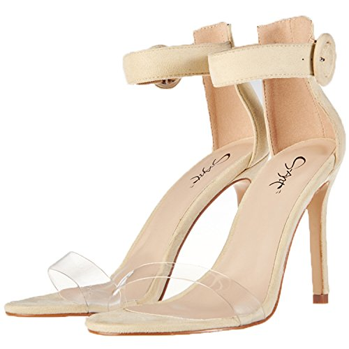(JSUN7 Women's High Heels Stilettos Pumps One Band Open Toe Sandal with Buckle Ankle Strap Office Shoes Beige)