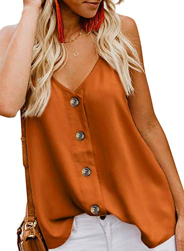jonivey Women's Strappy Chiffon Button Down Tank Tops Sleeveless Summer Shirts Blouse (Orange,S)