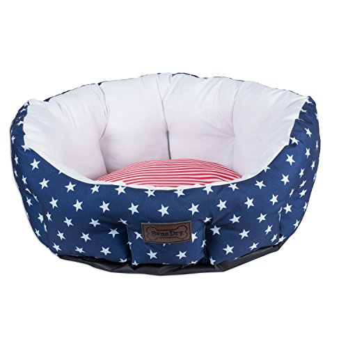 (Bone Dry CAMZ37197 DII 4th of July Stars & Stripes Pet B24x25x11 Circle Bed for Dogs Or Cats, Large, Black)