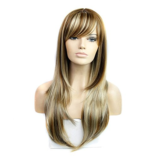 Long Wavy Curly Wig Mixed Color Wigs Synthetic Blonde Wig Heat Resistance Fiber -