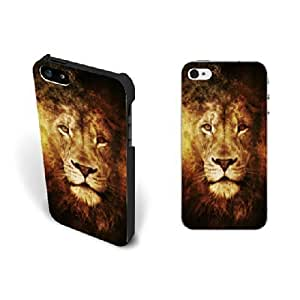 Cool Animal Lion King Iphone 5 Case Cover Lion Hard Plastic Iphone 5s Case Skin for Guys Protective BY supermalls