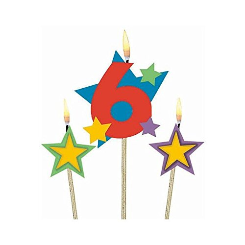 Party Time Stars and Number 6 Celebration Candle on a Stick, Pack of 3, Multi , 7