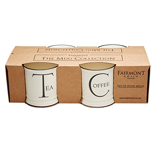 Ceramic Tankard - Fairmont & Main Script Tankard Mug Set, Ceramic, Cream, 11 x 11 x 10.5 cm