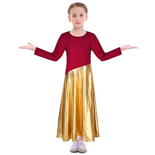Girl's Long Sleeve Liturgical Praise Lyrical Dance Dress Full Length Round Neck Ruffled Maxi Pleated Skirt Dancewear Costume Ballet Praisewear Church Worship Gowns Wine Red + Gold Bottom 7-8 Years (Bottom Gown)