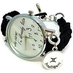 Black zodiacal sign Gemini women's watch Horoscope bracelet Zodiac Jewellery Who cares I'm already late face