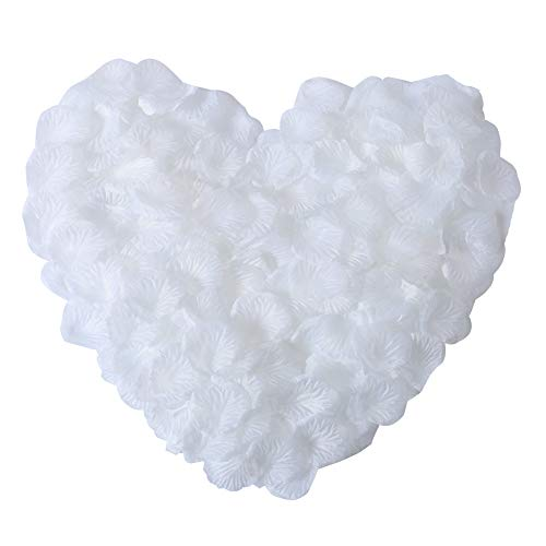 APICCRED 2000 PCS Artificial Silk Flower Rose Petals for Bridal Wedding Party Decoration - Petals Silk Rose White