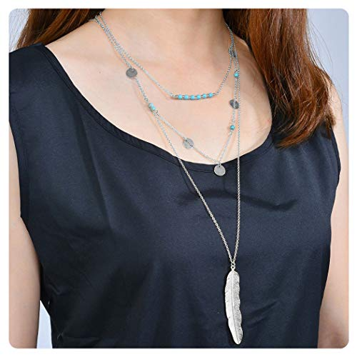 CULOVITY Womens Exquisite Multilayer Turquoise Necklaces - Beads Sequins Feather Pendant Jewelry Silver-Tone