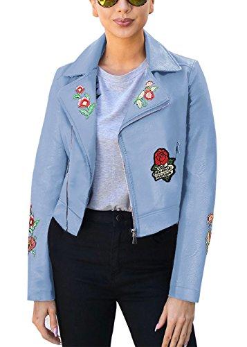 Manteau Veste pour PU florale Broderie Manteau cuir en femmes 1f8OxPWq