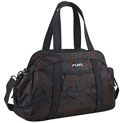 Fuel Sport Carryall Duffel For Gym, Travel or Weekend Gateway, Gray Marble Print with hint of Orange/Graphite Trim