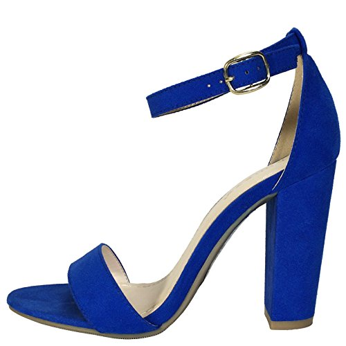 Sandal Heel Suede With Women's Strap Single Band BAMBOO Sapphire Faux Ankle Chunky Blue XwIg6Bnnq