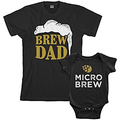 Threadrock Brew Dad & Micro Brew Infant Bodysuit & Men's T-Shirt Matching Set