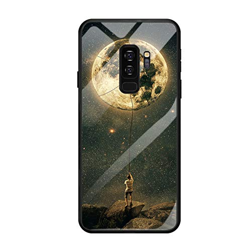 Fvntuey Compatible with Samsung Galaxy S10 Accessories Hard PC [Tempered Glass Back] Shell Cool Pattern Design with Soft TPU Bumper Full Body Protection Case Fashion Slim Cover for Galaxy S10(Moon)