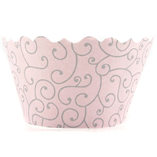 Bella Couture Olivia Swirl Cupcake Wrappers, Pink/Grey