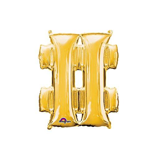 Regina 107009.6, Balão Metalizado Super Shape Símbolo Hashtag Pack, Dourado