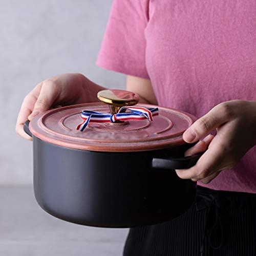 Marmites Accueil Utilisation Poterie Pot à haute température en céramique Casserole Cuisinière avec couvercle rose Les marmites (Taille : 4500ml)