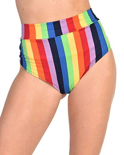 iHeartRaves Rainbow Paradise Striped High Waisted Bottoms (Large)