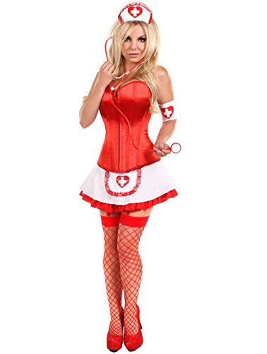 Red Women 4 pcs Sexy Nurse Corset Costume with Skirt Halloween Cosplay Outfit (XXL) (Sexy Corset Costumes)