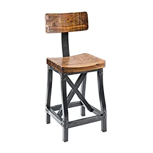 Industrial Rustic Modern Acacia Wood Counter Height Bar Stools with Back - Includes Modhaus Living Pen  sc 1 st  Amazon.com & Amazon.com: Industrial Rustic Modern Acacia Wood Counter Height ... islam-shia.org