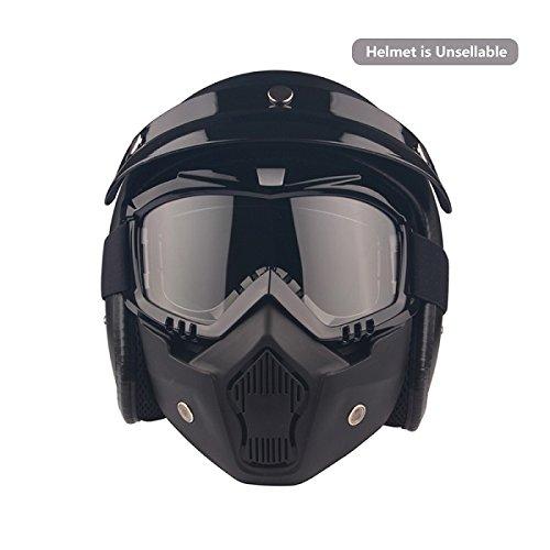 Motocicleta Gafas Máscara desmontable, Harley estilo acolchado de proteger casco gafas de sol, Road Riding UV gafas de moto, Unisex mujer: Amazon.es: ...